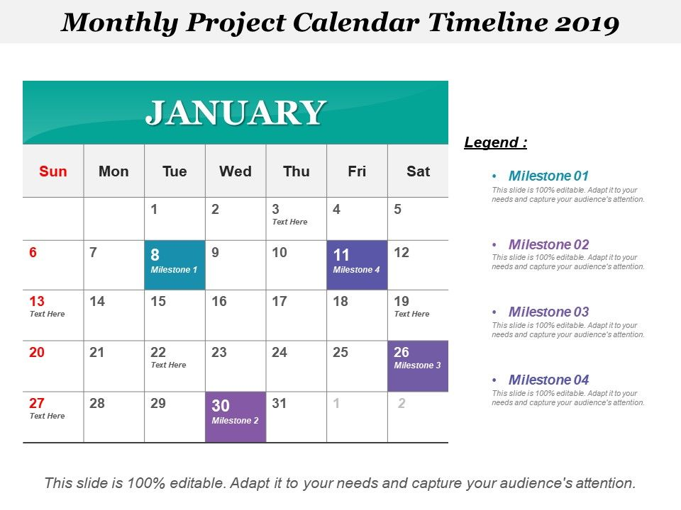 Monthly Project Calendar Timeline 2019 | Graphics