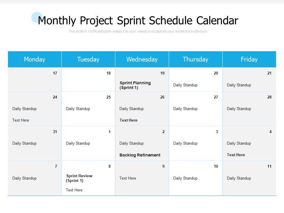 Monthly Project Sprint Schedule Calendar