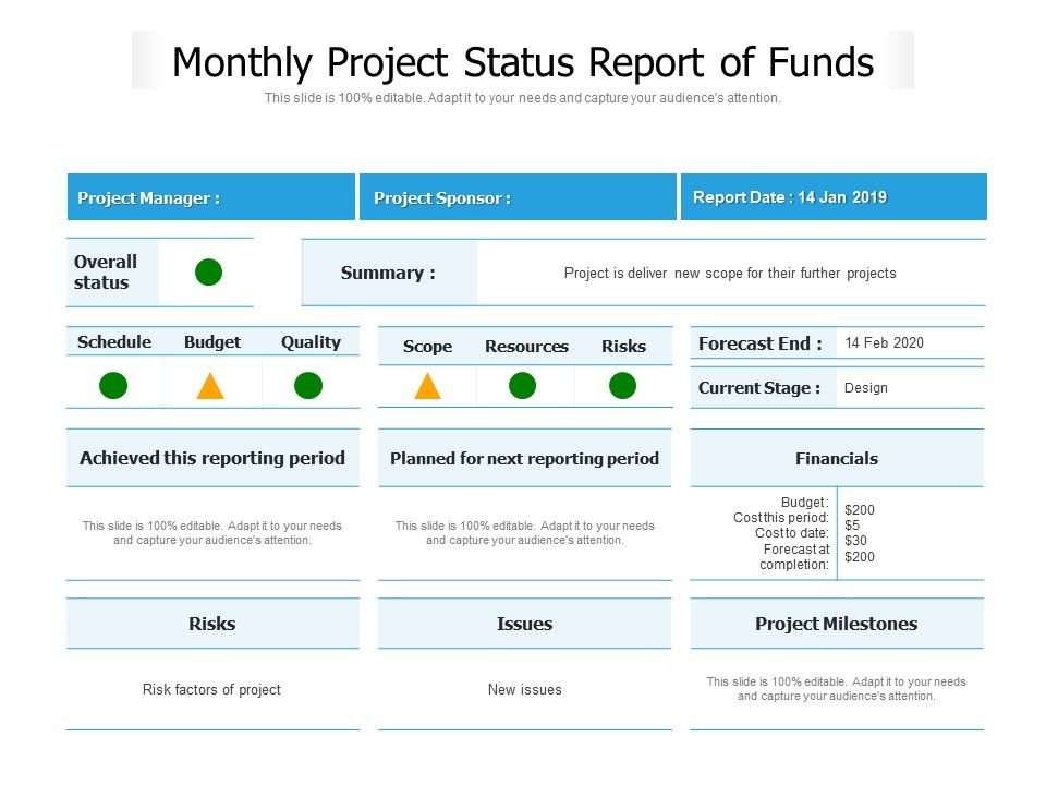 Monthly Project Status Report Of Funds