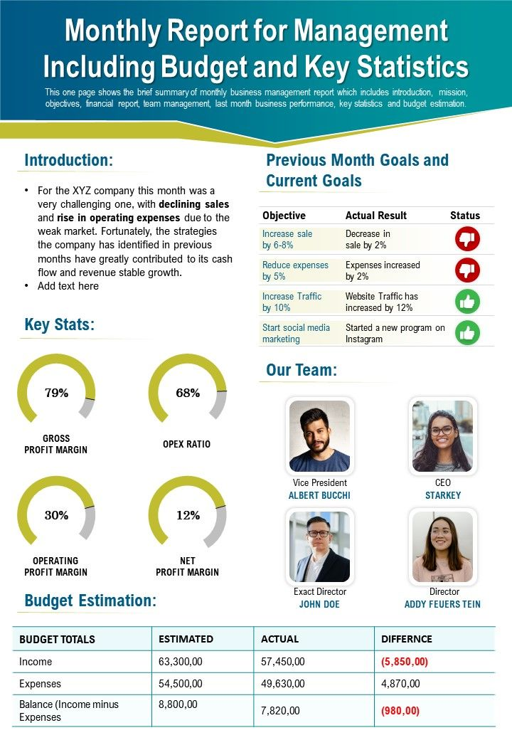 Monthly Report For Management Including Budget And Key Statistics Presentation Report Infographic PPT PDF Document