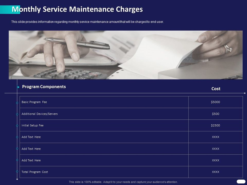 Monthly Service Maintenance Charges Ppt Powerpoint Presentation Slides Outline