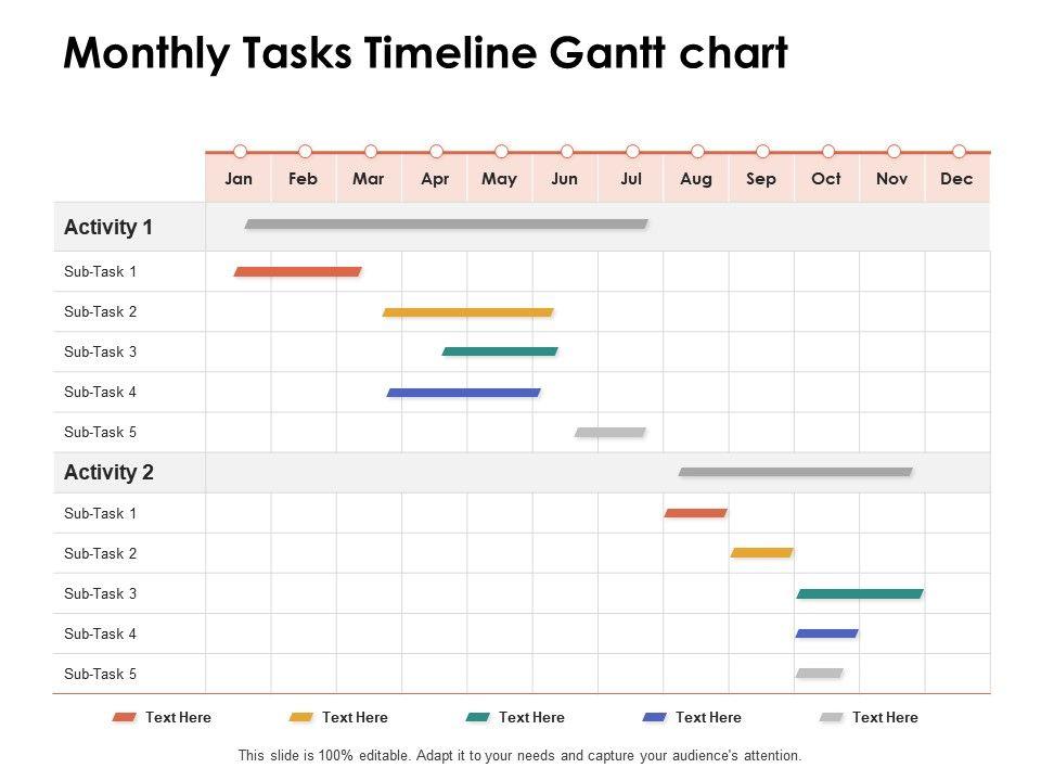 Monthly Tasks Timeline Gantt Chart Ppt Powerpoint Presentation Portfolio Summary