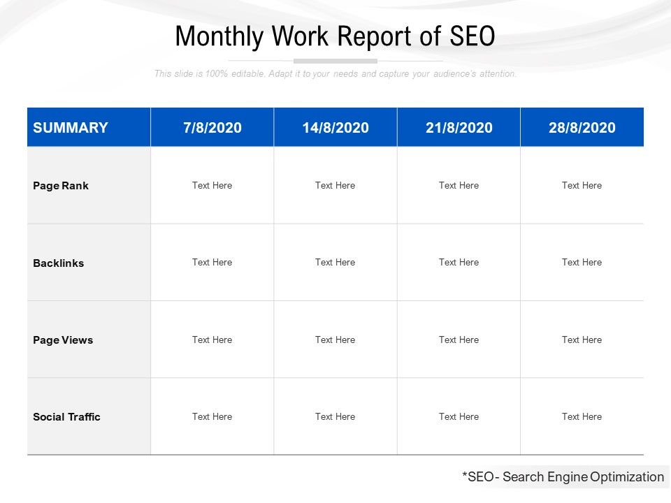Monthly Work Report Of SEO