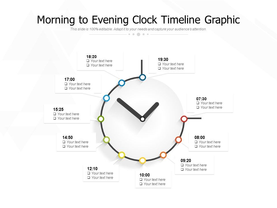 Morning To Evening Clock Timeline Graphic