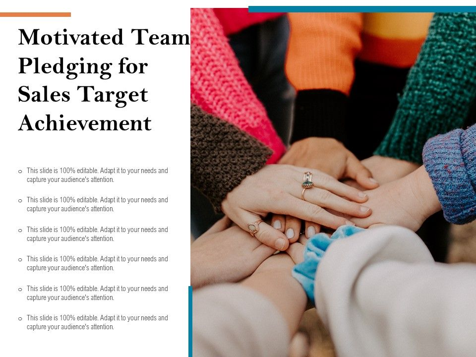 Motivated Team Pledging For Sales Target Achievement