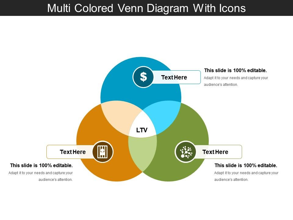 Multi Colored Venn Diagram With Icons Powerpoint