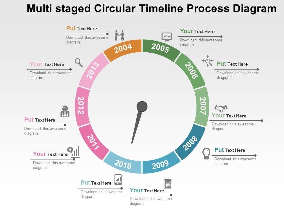multi_staged_circular_timeline_process_diagram_flat_powerpoint_design_Slide01