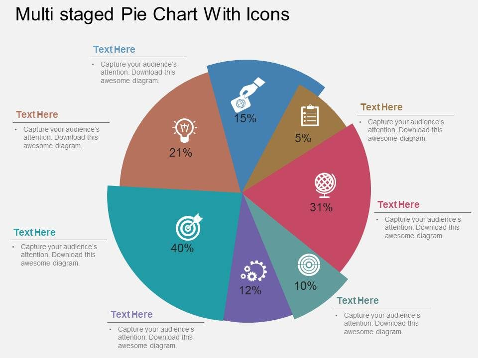 Multi Staged Pie Chart With Icons Flat Powerpoint Design