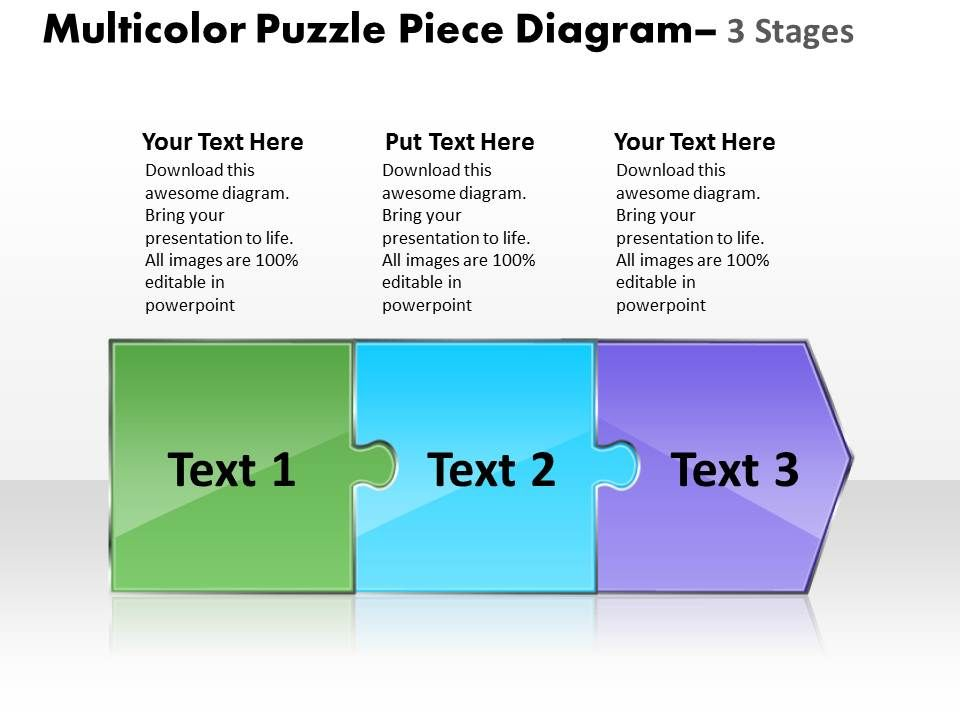 Multicolor Puzzle Piece Diagram 3 Stages Online Flow Chart Creator Powerpoint Templates Slide01