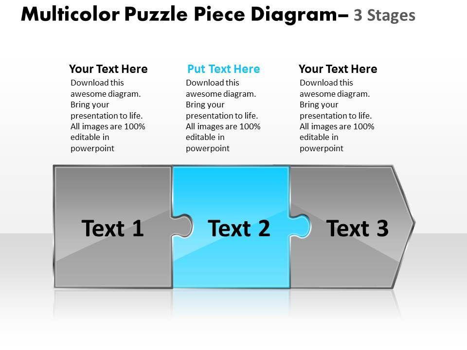 Multicolor Puzzle Piece Diagram 3 Stages Online Flow Chart Creator ...