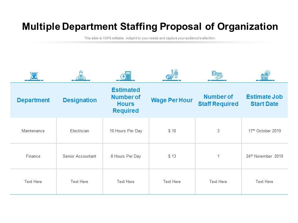 Multiple Department Staffing Proposal Of Organization