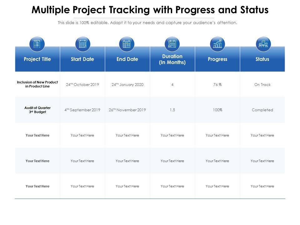 Multiple Project Tracking With Progress And Status