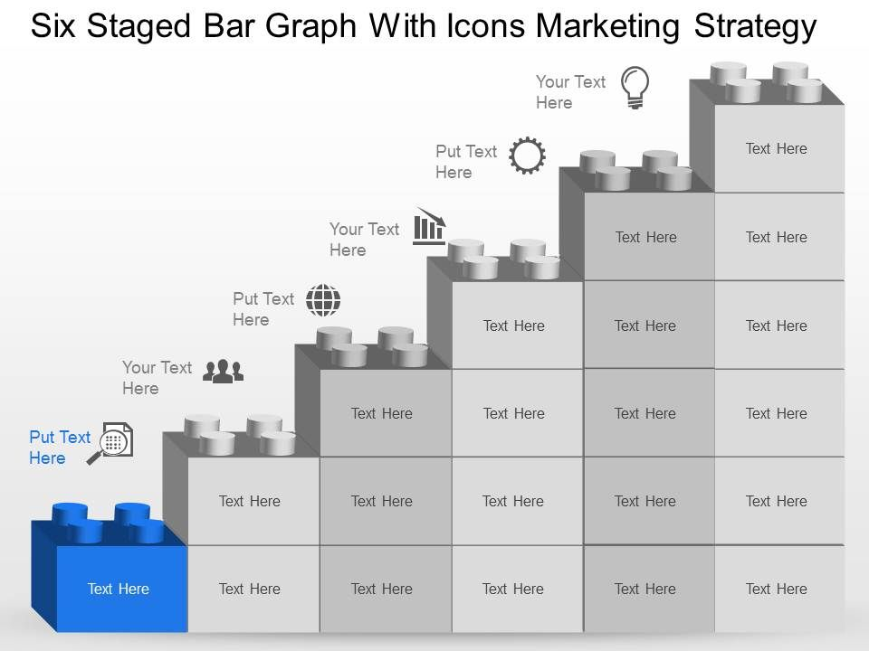 nb six staged bar graph with icons marketing strategy powerpoint