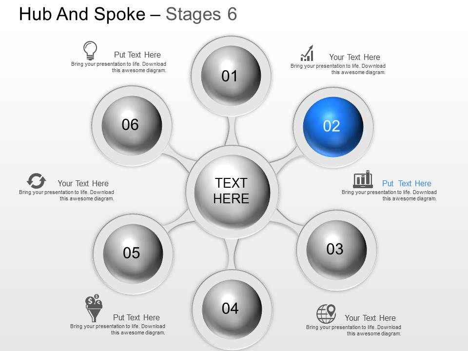 ne six staged hub spoke diagram with icons powerpoint template, Presentation templates