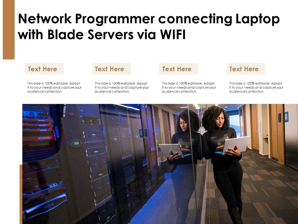 Network Programmer Connecting Laptop With Blade Servers Via WIFI