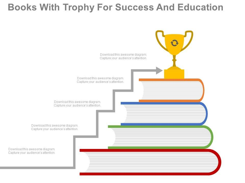 new_books_with_trophy_for_success_and_education_flat_powerpoint_design_Slide01