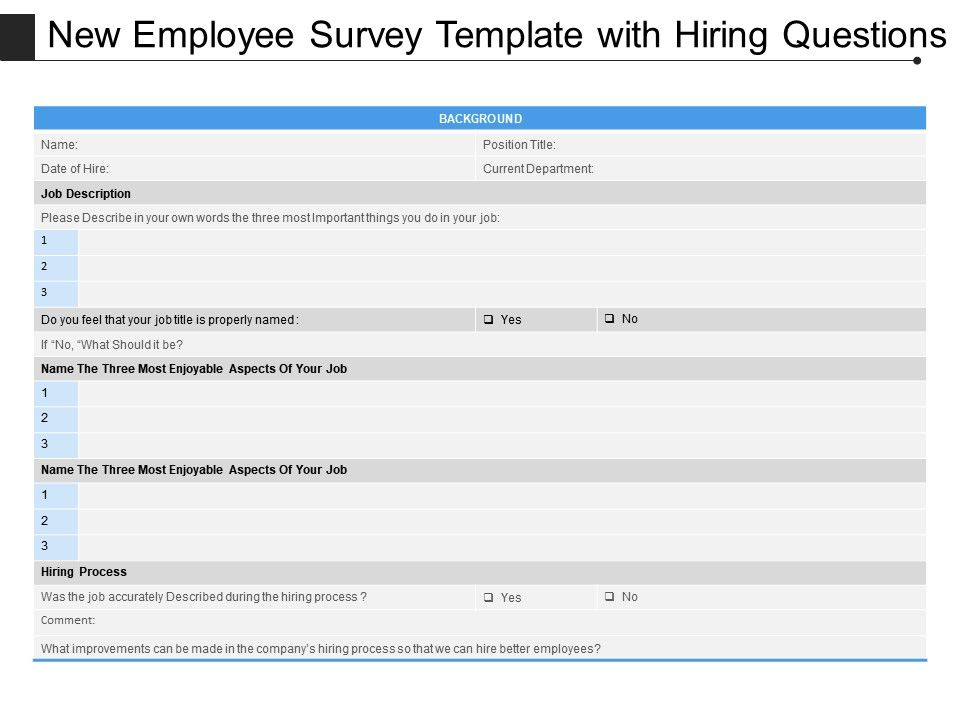 Employee Survey Template | New Employee Survey Template With Hiring Questions Powerpoint