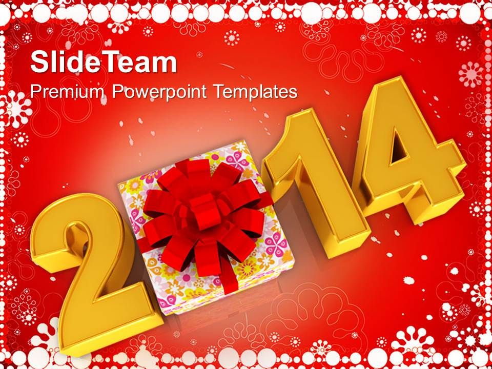 new year 2014 with gift favors powerpoint templates ppt