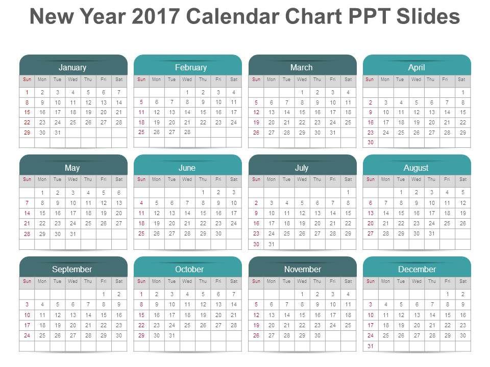 Calendar Art For Powerpoint : New year calendar chart ppt slides powerpoint