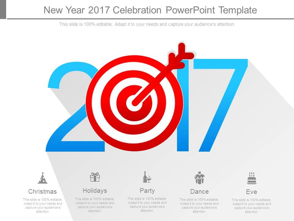 Professional strategy presentation showing new year 2017 for New years goals template