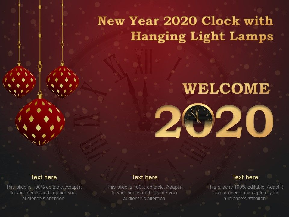 New Year 2020 Clock With Hanging Light Lamps Ppt Ideas Powerpoint Slide Template Presentation Templates Ppt Layout Presentation Deck