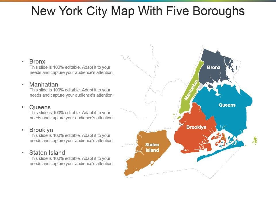 New York City Map With Five Boroughs Presentation Design ...
