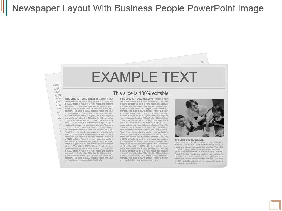 newspaper layout with business people powerpoint image powerpoint