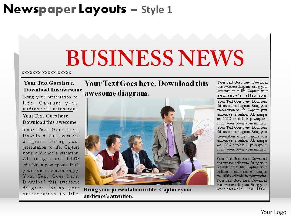 newspaper style presentation