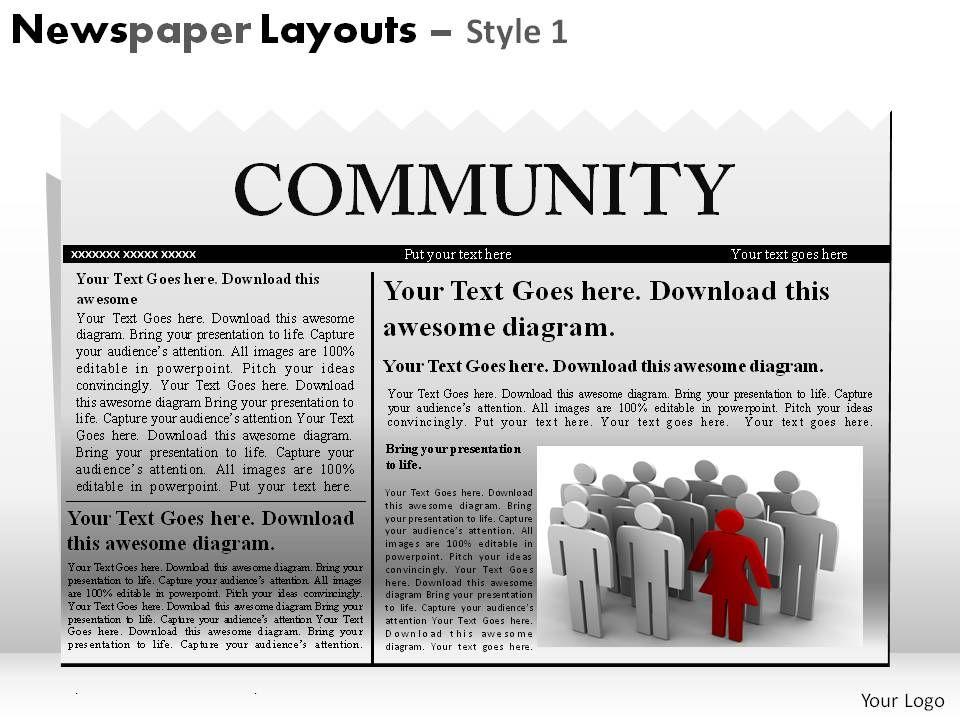 newspaper layouts style 1 powerpoint presentation slides