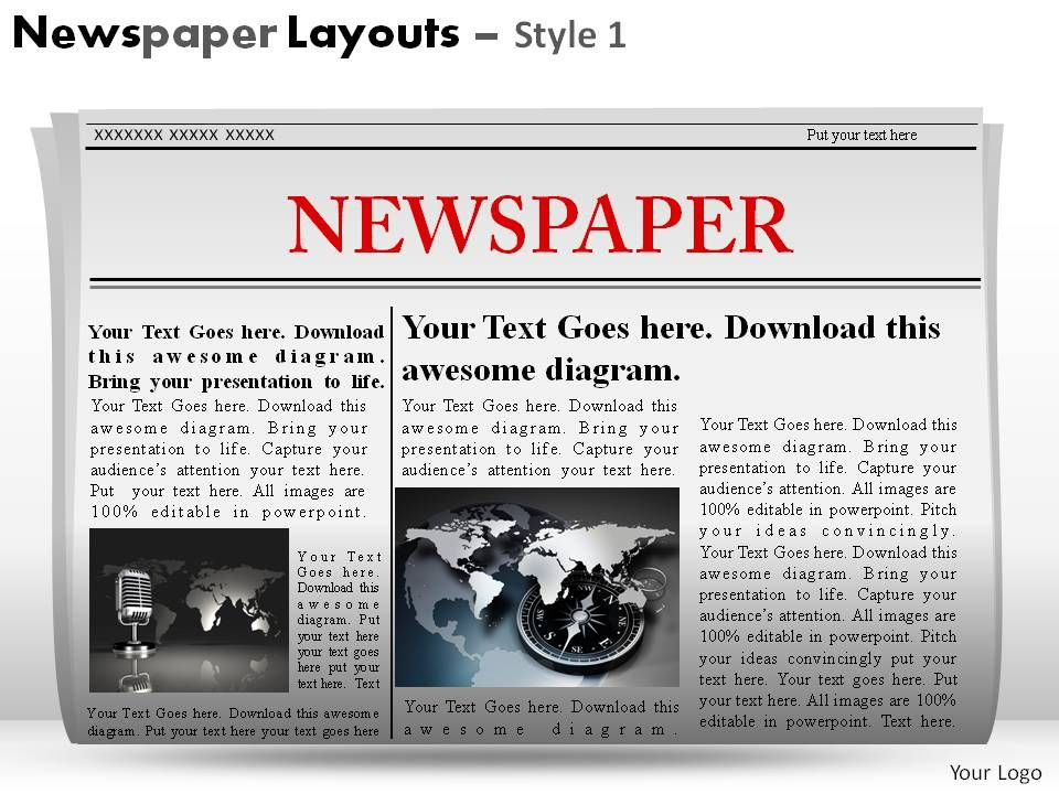 Newspaper Layouts Style 1 Powerpoint Presentation Slides