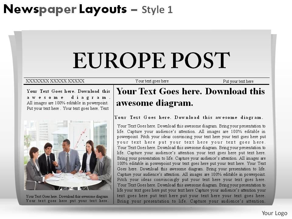 Newspaper Layouts Style 1 Powerpoint Presentation Slides Powerpoint Presentation Slides Ppt Slides Graphics Sample Ppt Files Template Slide
