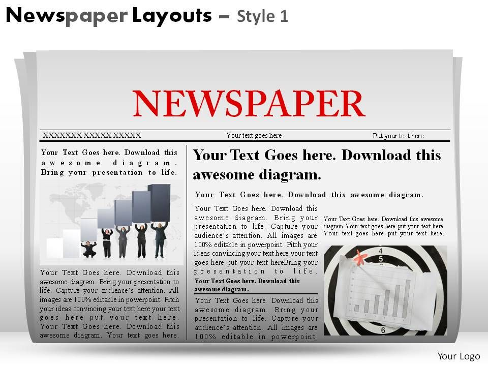 newspaper layouts style 1 powerpoint presentation slides, Presentation templates