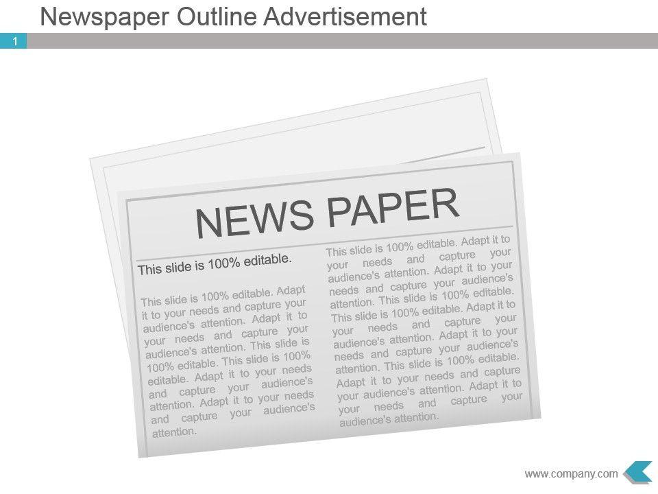 Newspaper Outline Advertisement Presentation Diagram Slide01 Slide02