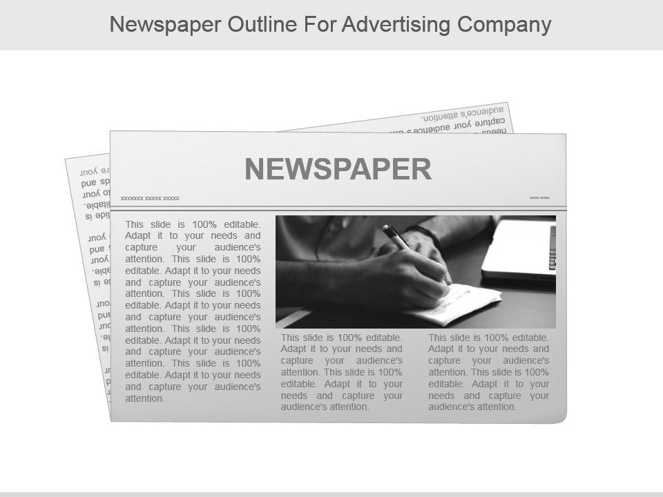 Newspaper Outline For Advertising Company Presentation Powerpoint