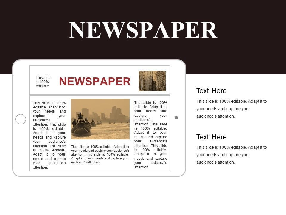 Newspaper Template 3 Powerpoint Slide Presentation Sample Template