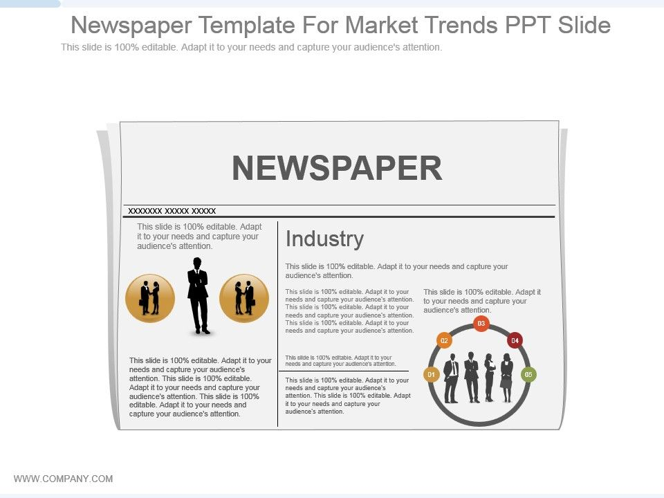 Newspaper Template For Market Trends Ppt Slide Powerpoint