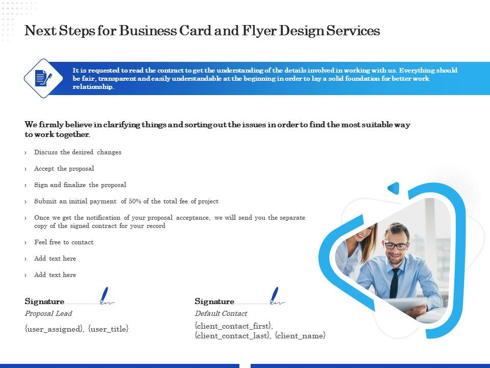 Next Steps For Business Card And Flyer Design Services Ppt Template Presentation Graphics Presentation Powerpoint Example Slide Templates