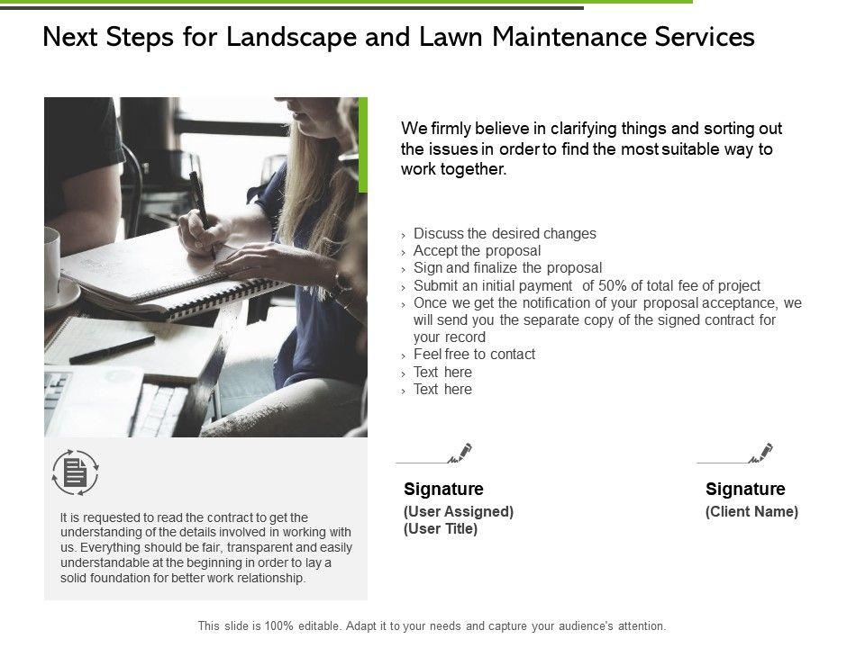 Next Steps For Landscape And Lawn Maintenance Services Ppt Slides