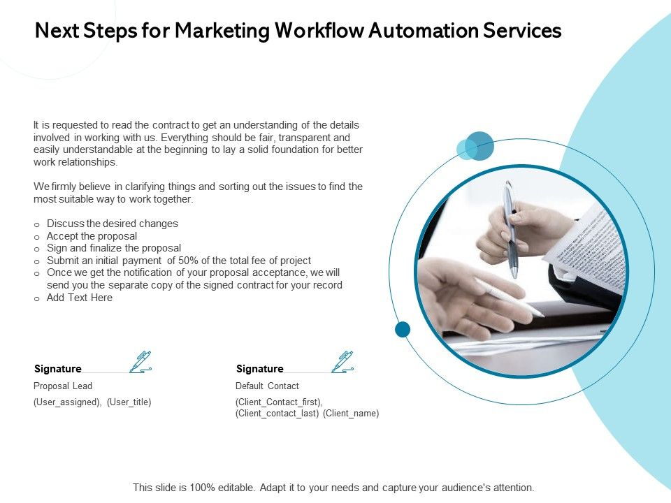 Next Steps For Marketing Workflow Automation Services Contract Ppt Powerpoint Presentation Slide