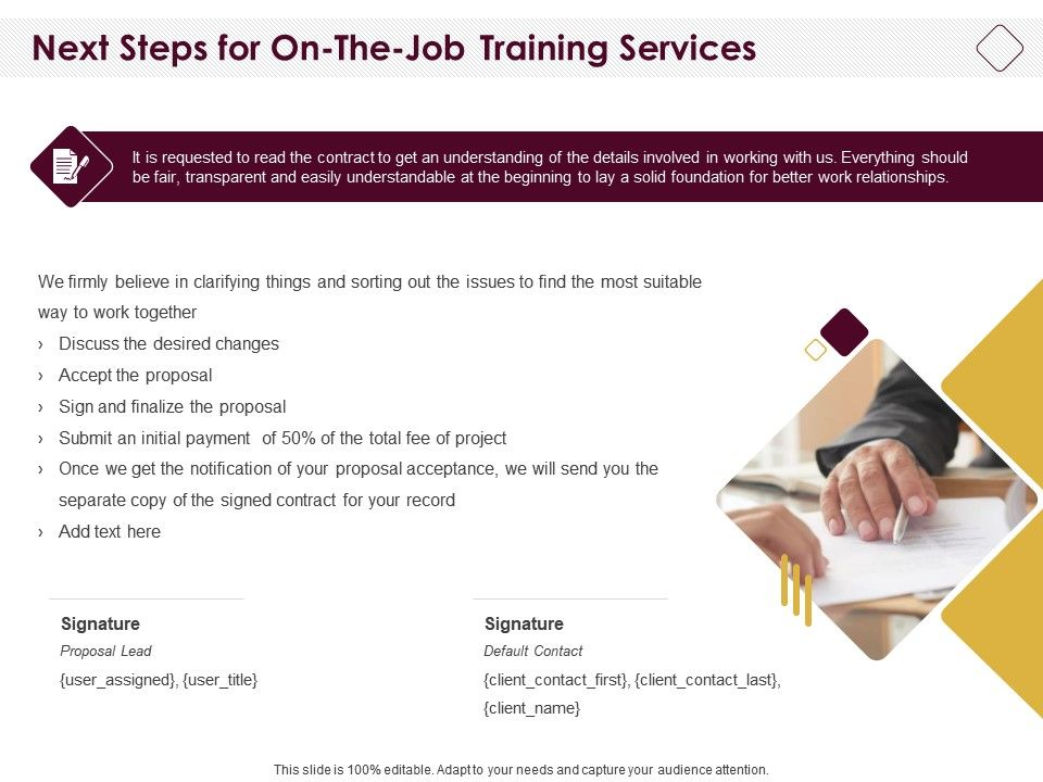 Next Steps For On The Job Training Services Ppt Powerpoint Portfolio Deck