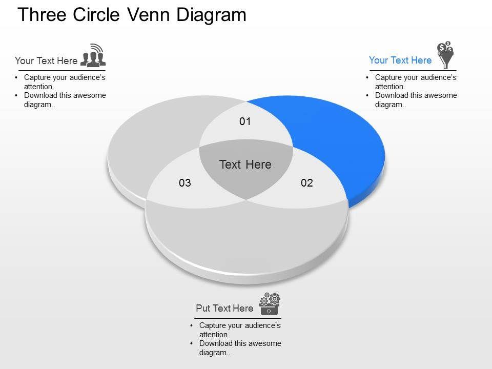 Ni Three Circle Venn Diagram Powerpoint Template Presentation
