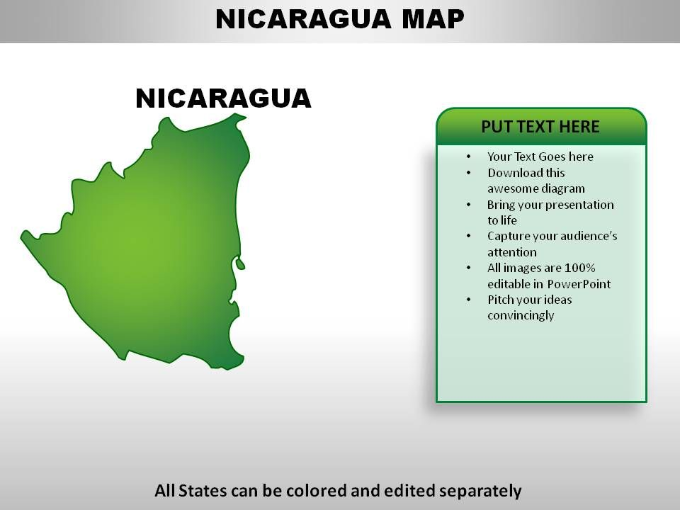 Nicaragua Country Powerpoint Maps PowerPoint Slide Templates - Nicaragua map download