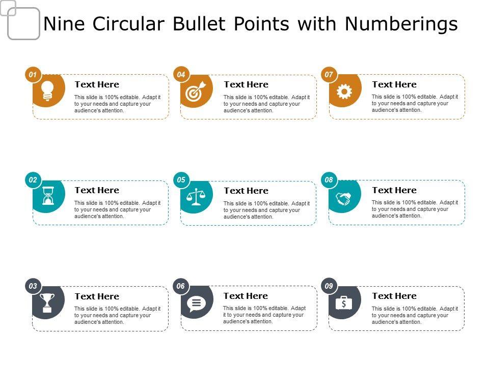 nine_circular_bullet_points_with_numberings_Slide01