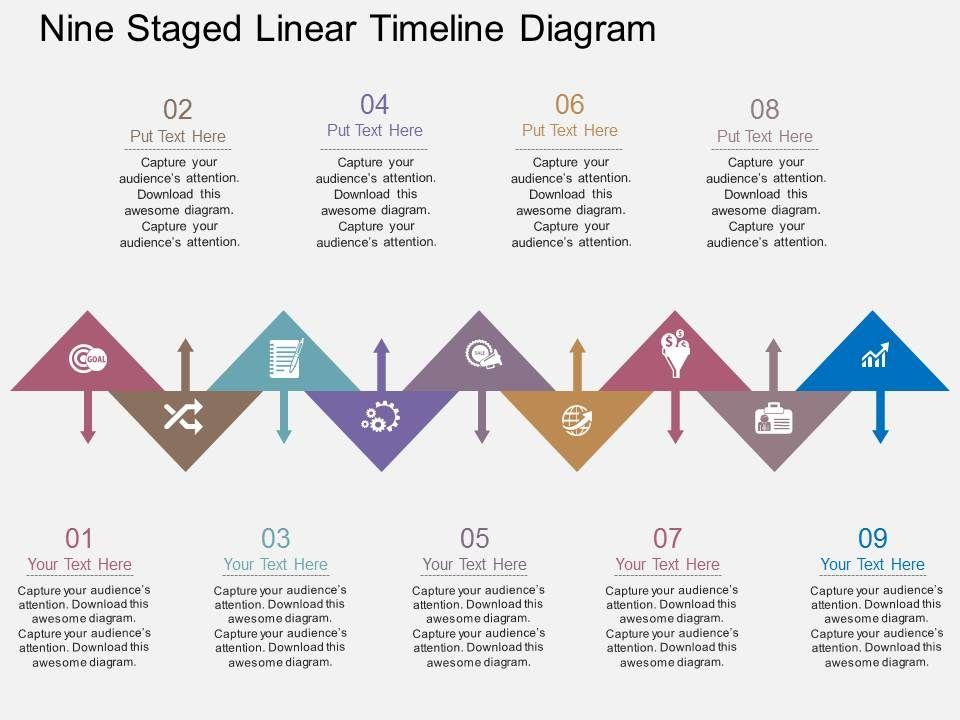 nine_staged_linear_timeline_diagram_flat_powerpoint_design_Slide01
