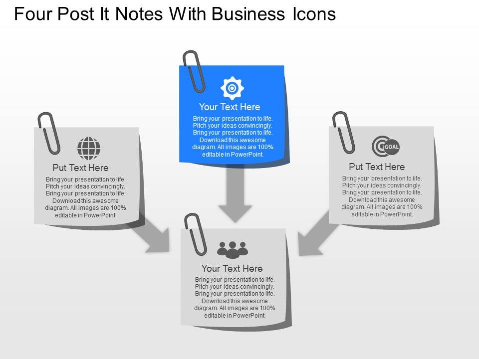 No four post it notes with business icons powerpoint template no four post it notes with business icons powerpoint template powerpoint slide images ppt design templates presentation visual aids toneelgroepblik Gallery