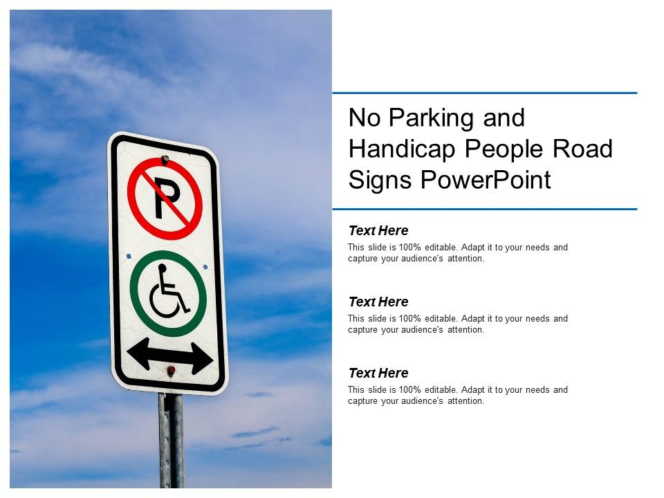 No Parking And Handicap People Road Signs Powerpoint Slide01 Slide02