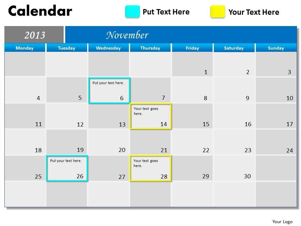 november_2013_calendar_powerpoint_slides_ppt_templates_Slide01