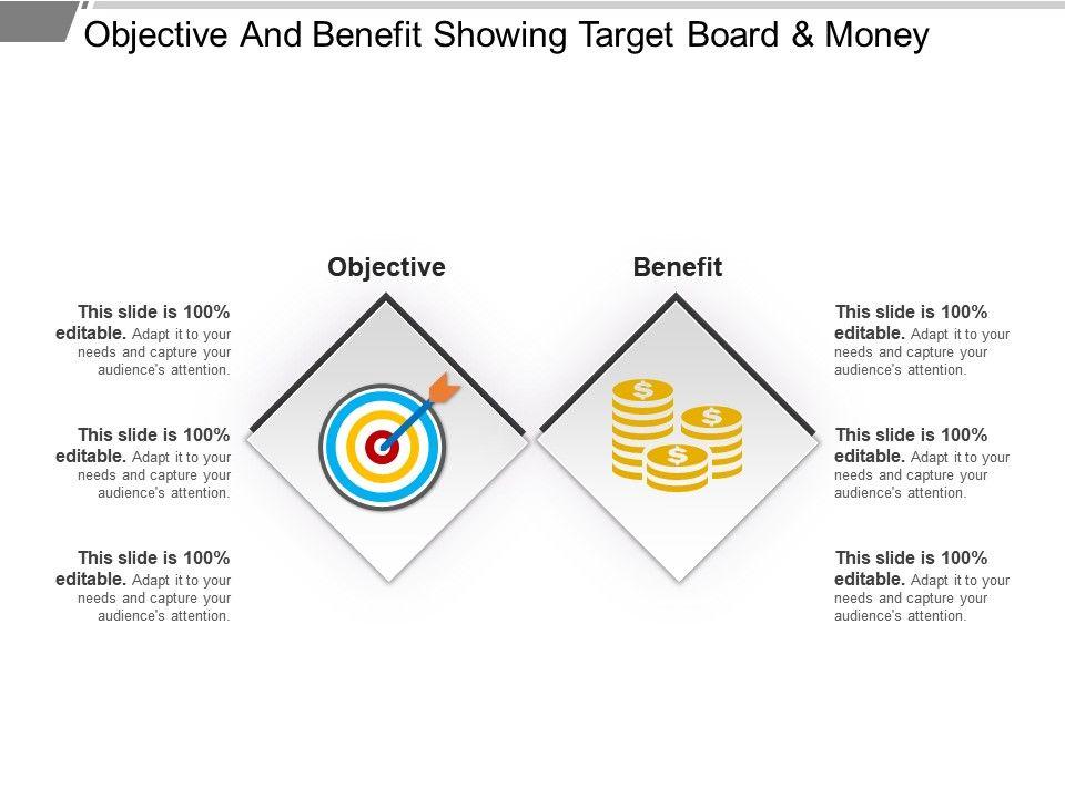 Objective and benefit showing target board and money powerpoint objectiveandbenefitshowingtargetboardandmoneypowerpointtemplatesslide01 toneelgroepblik Image collections