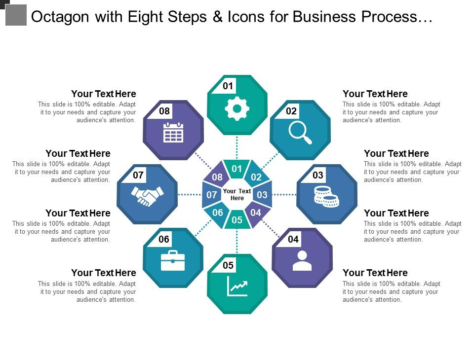 Octagon With Eight Steps And Icons For Business Process Presentation