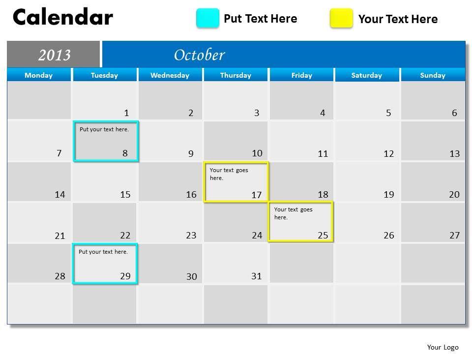 october_2013_calendar_powerpoint_slides_ppt_templates_Slide01